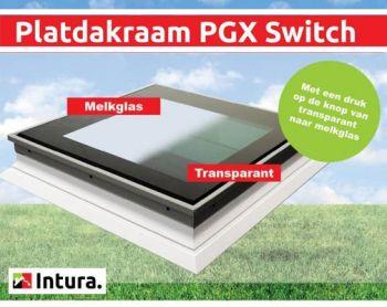Intura platdakraam switch, wisselen van helder naar opaal 100x100 cm.