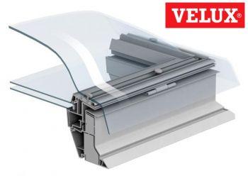 Doorsnede VELUX lichtkoepel 100x100 cm met HR++ glasplaat.