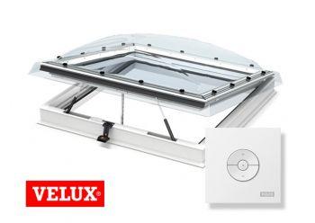 VELUX lichtkoepel elektrisch met HR++ glas en dakopstand dagmaat 100x100 cm.