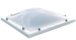Lichtkoepel glashelder domelite driewandig met een dagmaat van 100x100 cm.
