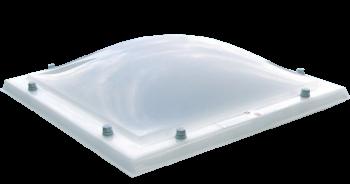 Lichtkoepel glashelder domelite driewandig met een dagmaat van 120x120 cm.