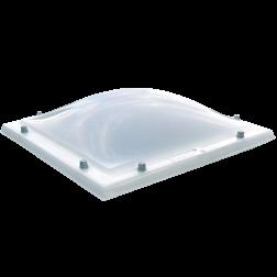 Lichtkoepel dubbelwandig acrylaat in glashelder of opaal 130x130 cm.