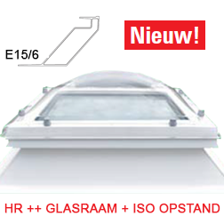 NovoTherm lichtkoepel + opstand met HR ++ glasraam 130x130 cm