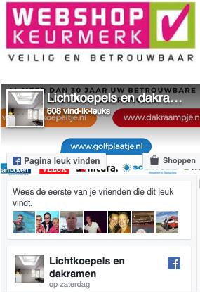 Facebook acties lichtkoepeltje.nl